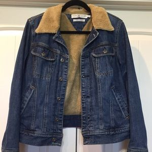 Tommy Hilfiger Jean Denim Jacket Full Fur Lined L